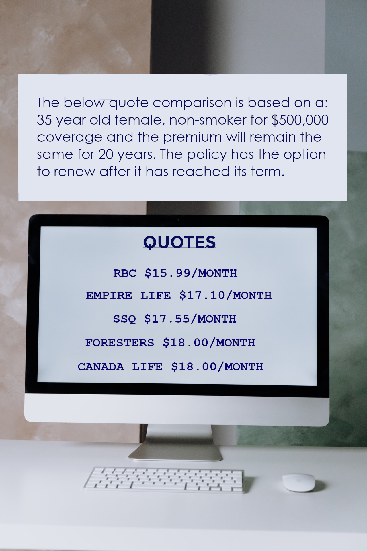 Life Insurance Quote on Screen